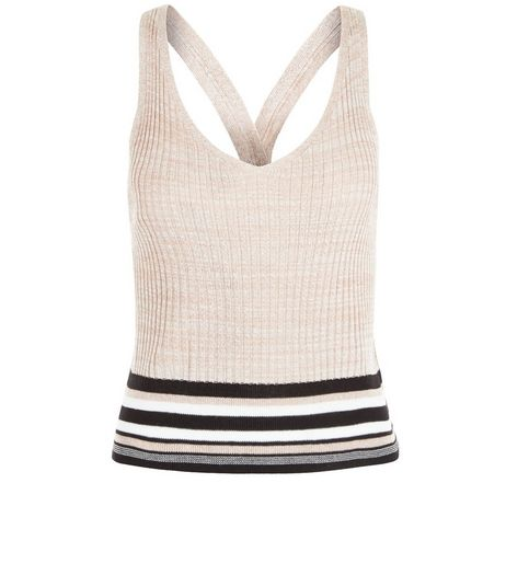 Shell Pink Ribbed Stripe Trim Vest  | New Look