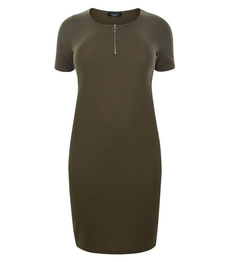 Curves Khaki Zip Front Bodycon Dress | New Look