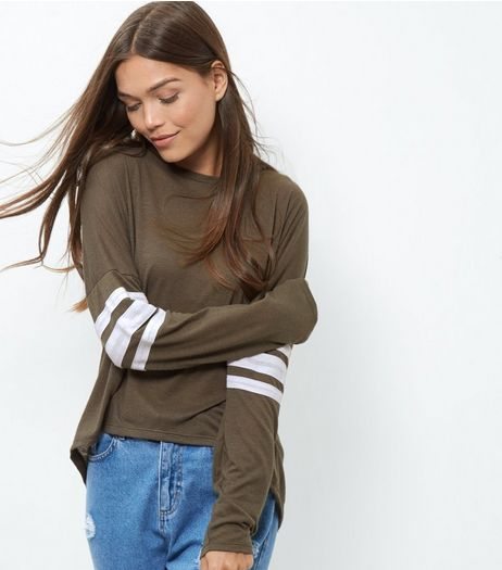 Khaki Stripe Sleeve T-Shirt  | New Look