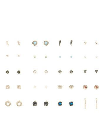 20 Pack Multicoloured Stud Earrings