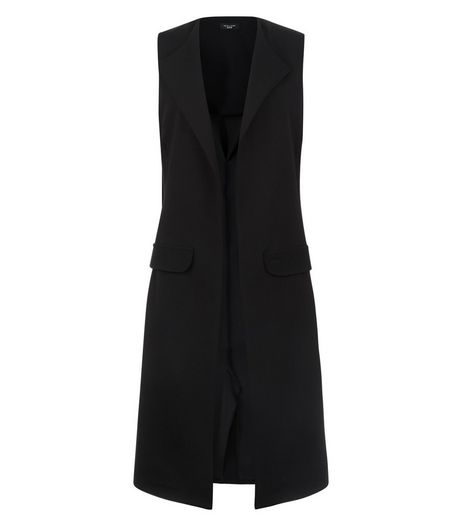 Petite Black Double Pocket Sleeveless Jacket | New Look