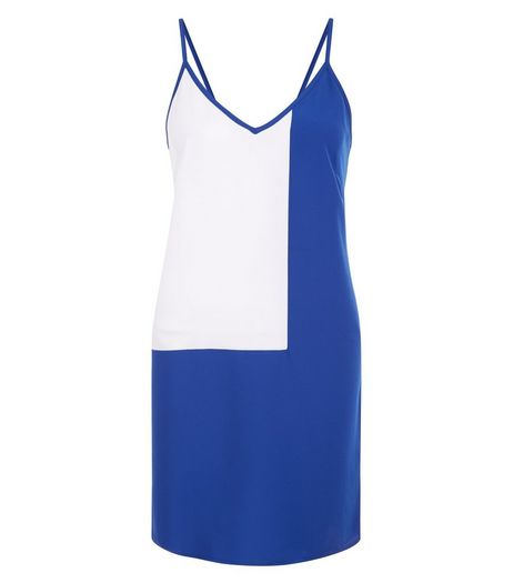 Petite Blue Colour Block Slip dress | New Look