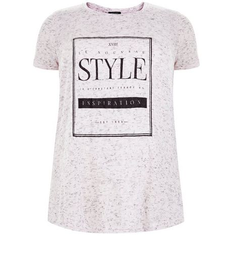 Curves Pink Style Print Fine Knit T-Shirt | New Look