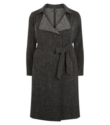 Curves Grey Waterfall Duster Coat