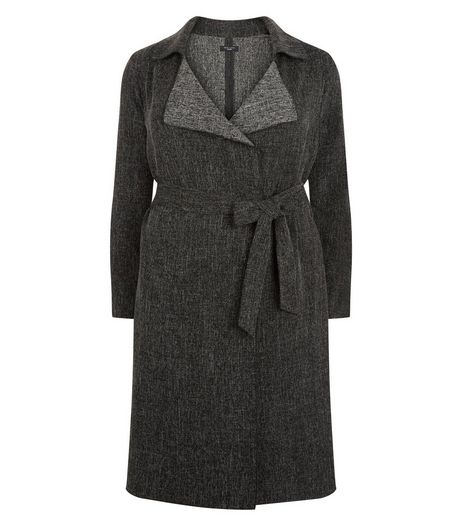 Curves Grey Waterfall Duster Coat | New Look