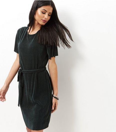 Dark Green Pleated Tie Waist Tunic Dress  | New Look
