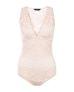 Shell Pink Lace Back V Neck Bodysuit | New Look