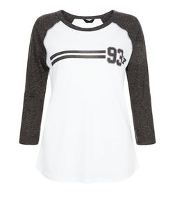 Grey 93 Stripe Raglan Top | New Look
