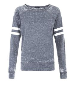 Grey Burnout Stripe Long Sleeve Top | New Look