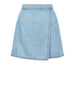 Blue Denim Wrap Front Mini Skirt  | New Look