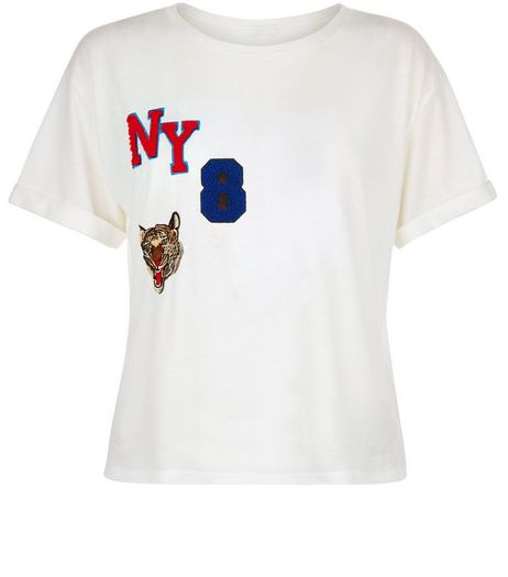 White NY 8 Varsity Badge Crop Top | New Look