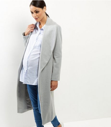 Maternity Grey Belted Wrap Coat | New Look