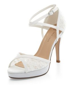 Wide Fit Cream Lace Panel Ankle Strap Heels  | New Look