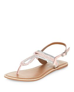 Wide Fit Cream Leather Woven Sandals | New Look