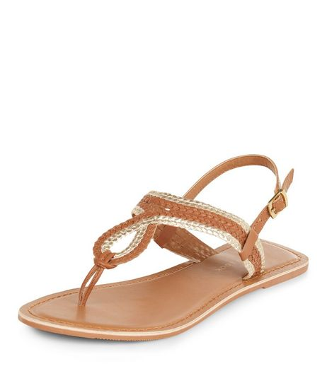 Wide Fit Tan Leather Woven Strap Sandals | New Look