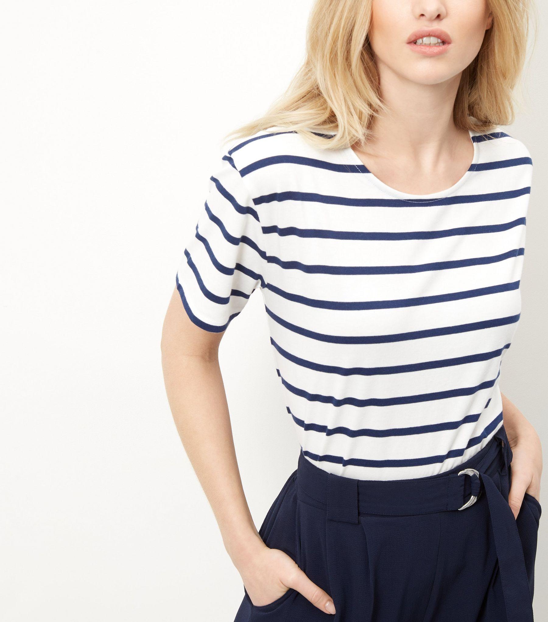 Blue Stripe Boxy T-Shirt  | New Look