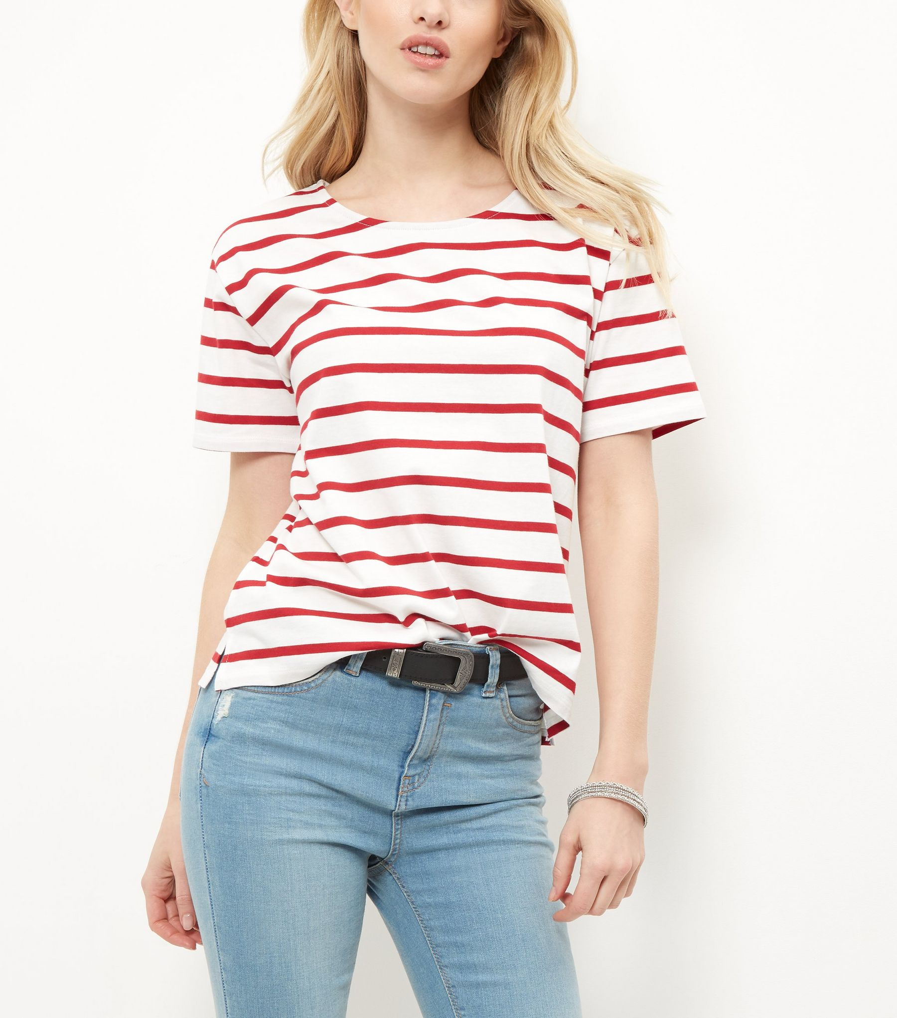 Red Stripe Boxy T-Shirt  | New Look