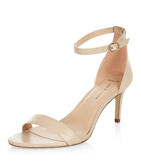 Wide Fit Nude Leather Heeled Sandals  | New Look