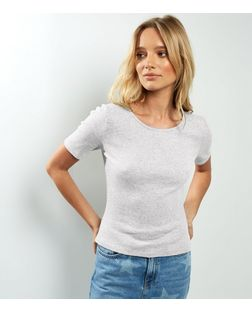 Grey Ribbed T-Shirt  | New Look