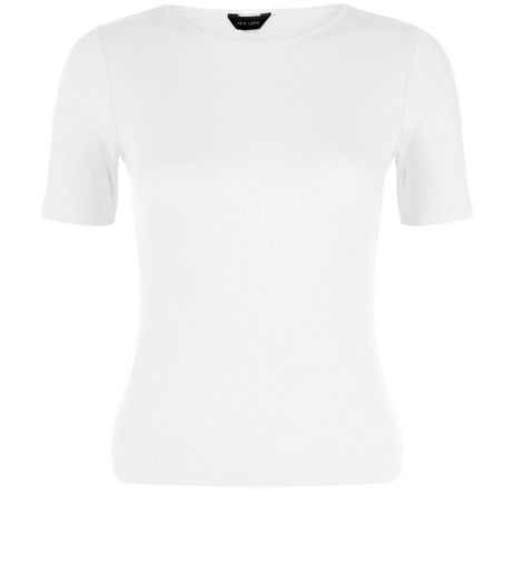 White Ribbed T-shirt | New Look