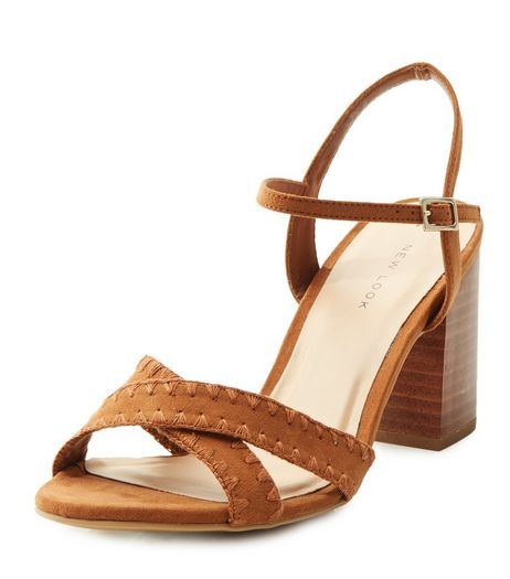 Tan Suedette Woven Cross Strap Heeled Sandals  | New Look
