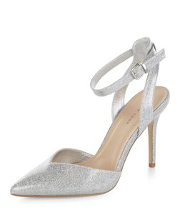Silver Glitter Ankle Strap Pointed Heels | New Look