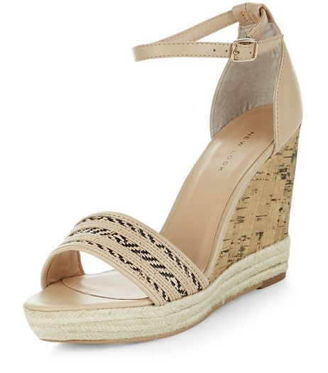 Cream Leather-Look Woven Wedges | New Look