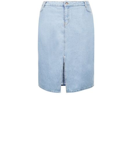 Curves Blue Split Front Denim Midi Skirt | New Look