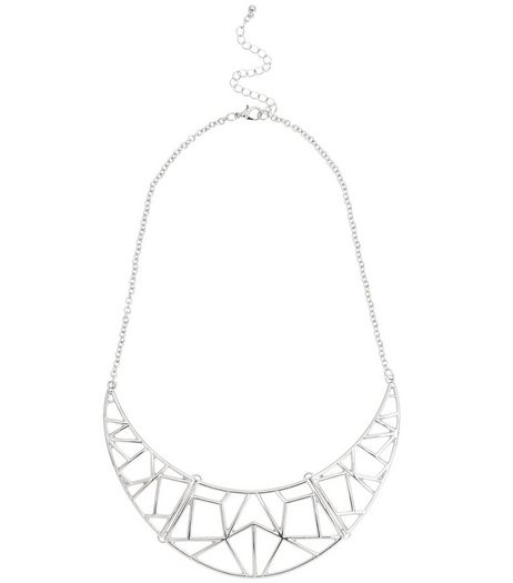 Silver Geo Cut Out Torque Necklace | New Look