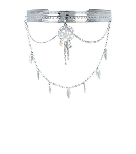 Silver Dreamcatcher Drape Arm Cuff | New Look