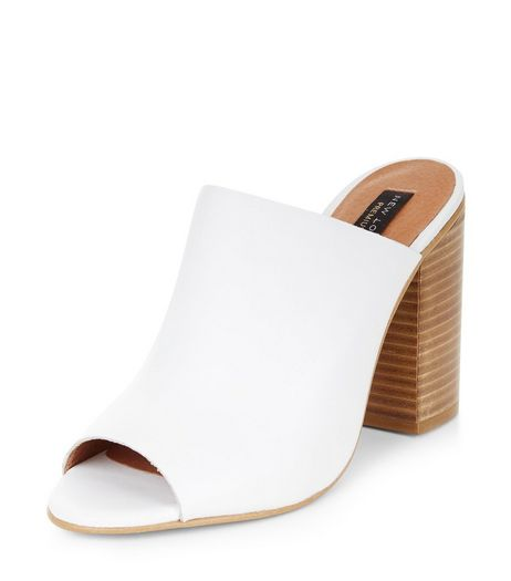 White Premium Leather Peep Toe Mules  | New Look