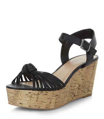 Sandalo  donna Black Strappy Knotted Flatform Sandals