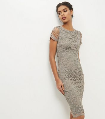 AX Paris Grey Crochet Lace Midi Bodycon Dress