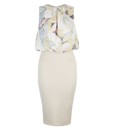 AX Paris Stone Leaf Print Top Midi Dress | New Look