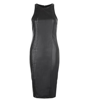 Product photo of Ax paris black leatherlook stitch midi dress