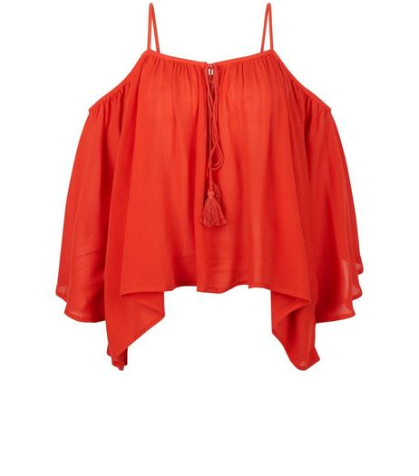 Blue Vanilla Red Cold Shoulder Frill Top  | New Look