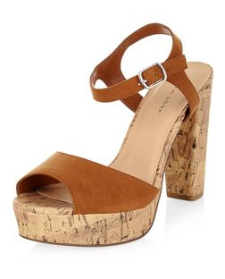 Tan Ankle Strap Contrast Cork Platform Heels  | New Look
