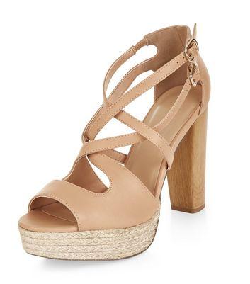 Sandalo  donna Nude Cross Strap Peep Toe Espadrille Platform Heels