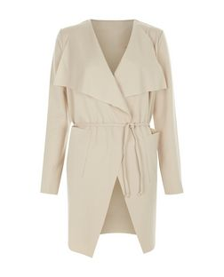 Cameo Rose Stone Belted Waterfall Jacket | New Look