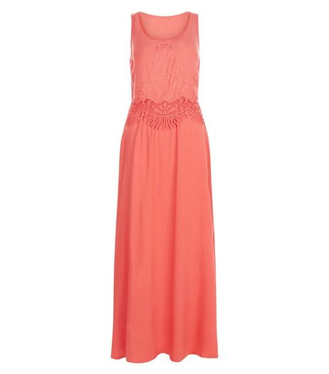 Apricot Orange Embroidered Maxi Dress | New Look