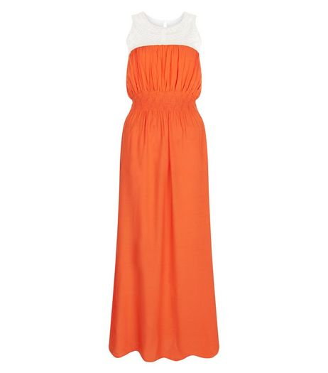 Apricot Orange Contrast Mesh Maxi Dress | New Look