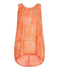 Apricot Orange Feather Print Zip Back Vest | New Look