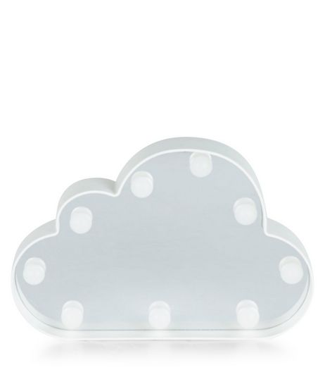 White LED Lights Cloud Plaque  | New Look