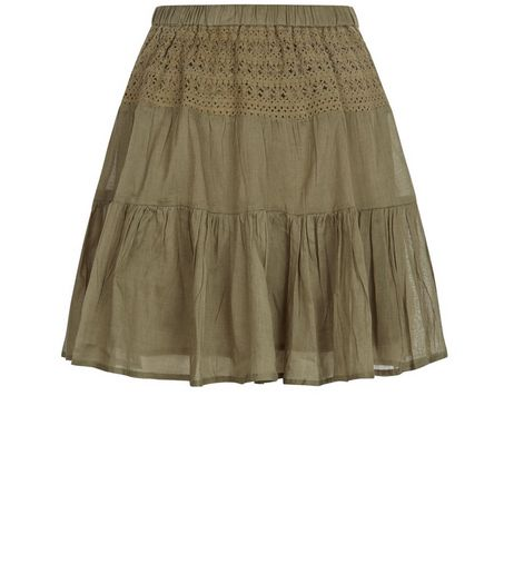 Apricot Khaki Lace Skater Skirt | New Look