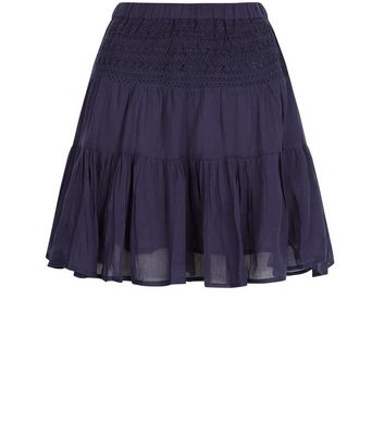 Apricot Navy Lace Skater Skirt