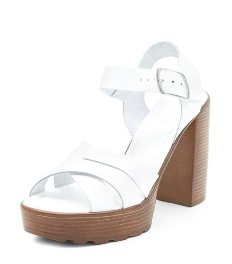 White Leather Cross Strap Wooden Platform Heeled Sandals  | New Look