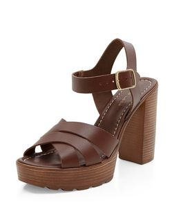 Dark Brown Leather Cross Strap Wooden Platform Heeled Sandals  | New Look