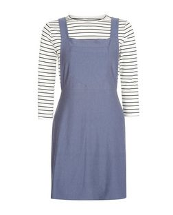 Blue Vanilla Blue 2 in 1 Stripe Pinafore Dress | New Look
