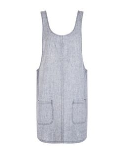 Blue Linen Mix Scoop Neck Pinafore Dress  | New Look