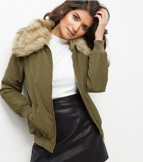 Khaki Faux Fur Collar Bomber Jacket  | New Look